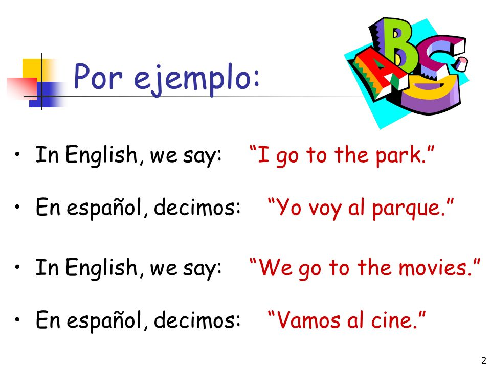 Por ejemplo: In English, we say: I go to the park.