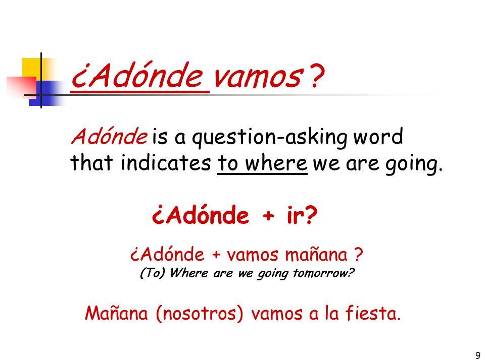 ¿Adónde vamos ¿Adónde + ir