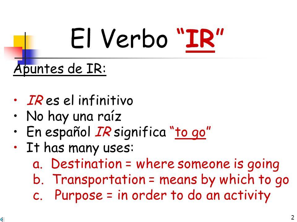 El Verbo IR Apuntes de IR: IR es el infinitivo No hay una raíz