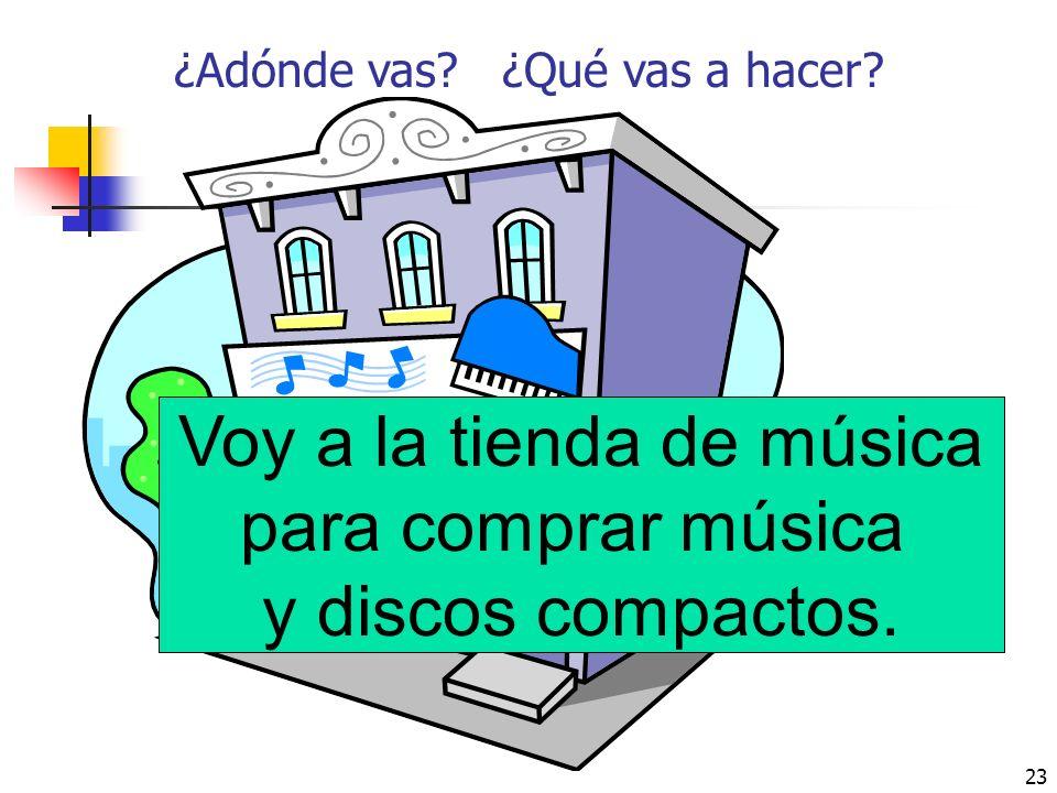 Voy a la tienda de música para comprar música y discos compactos.