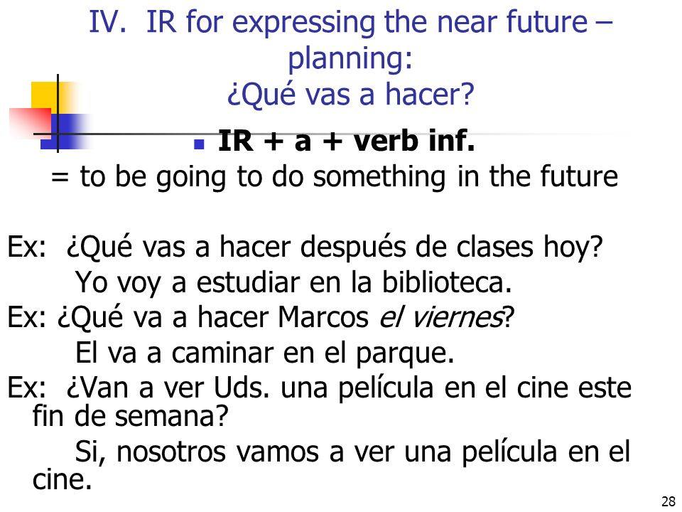 IV. IR for expressing the near future – planning: ¿Qué vas a hacer