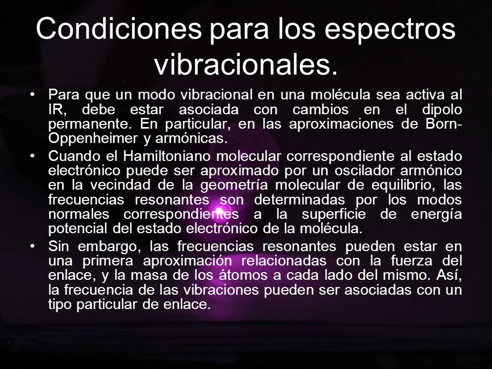Condiciones para los espectros vibracionales.