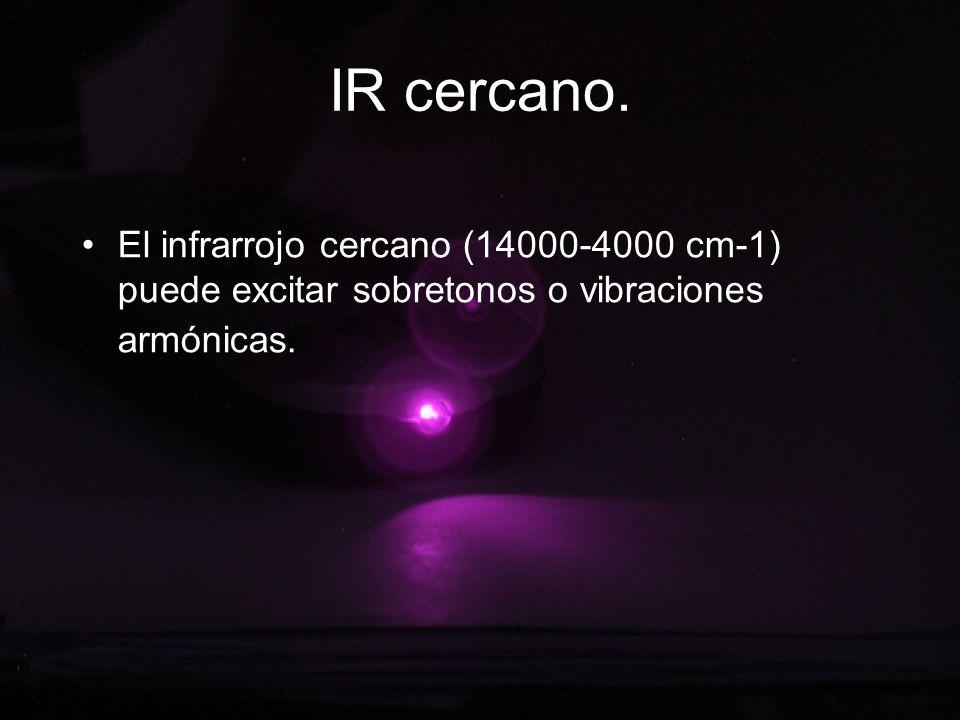 IR cercano.El infrarrojo cercano (14000-4000 cm-1) puede excitar sobretonos o vibraciones armónicas.