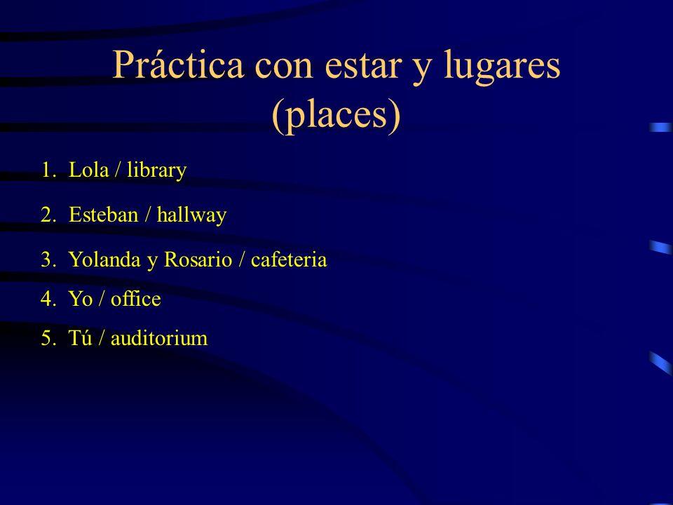 Práctica con estar y lugares (places)