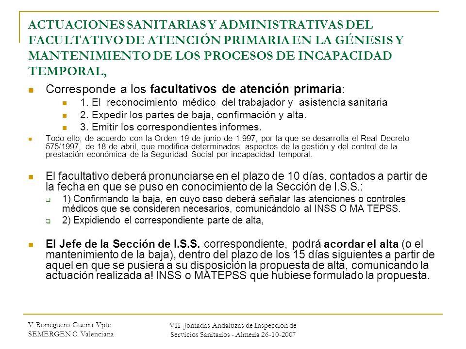ACTUACIONES SANITARIAS Y ADMINISTRATIVAS DEL FACULTATIVO DE ATENCIÓN PRIMARIA EN LA GÉNESIS Y MANTENIMIENTO DE LOS PROCESOS DE INCAPACIDAD TEMPORAL,
