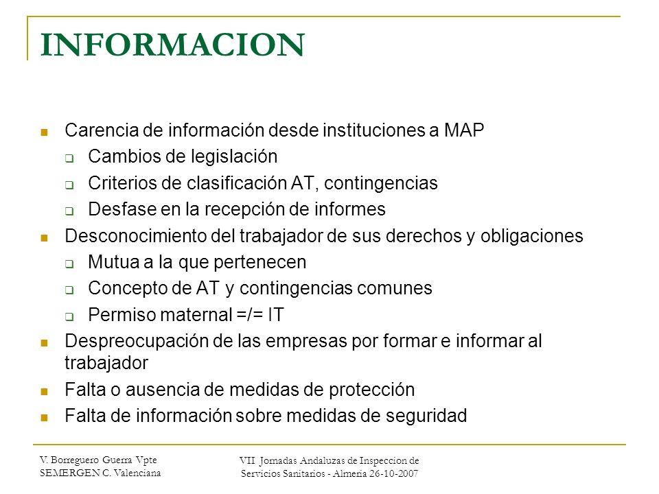 INFORMACION Carencia de información desde instituciones a MAP