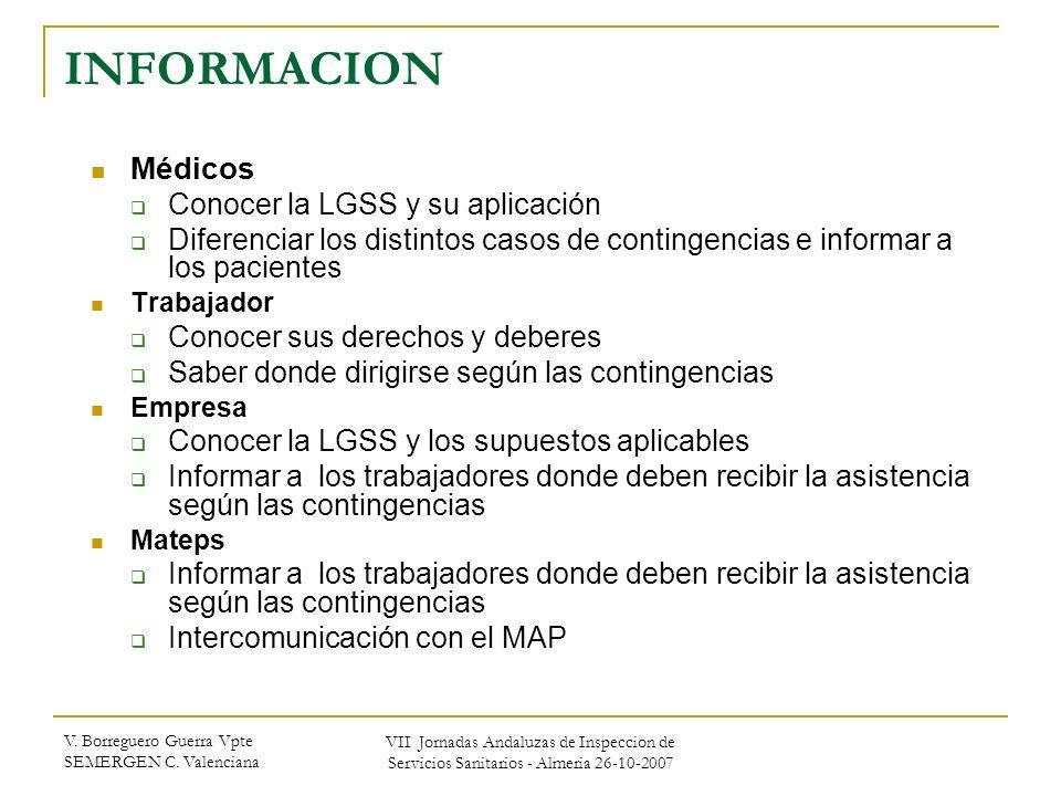 INFORMACION Médicos Conocer la LGSS y su aplicación