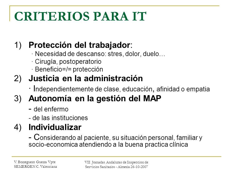 CRITERIOS PARA IT 1) Protección del trabajador: