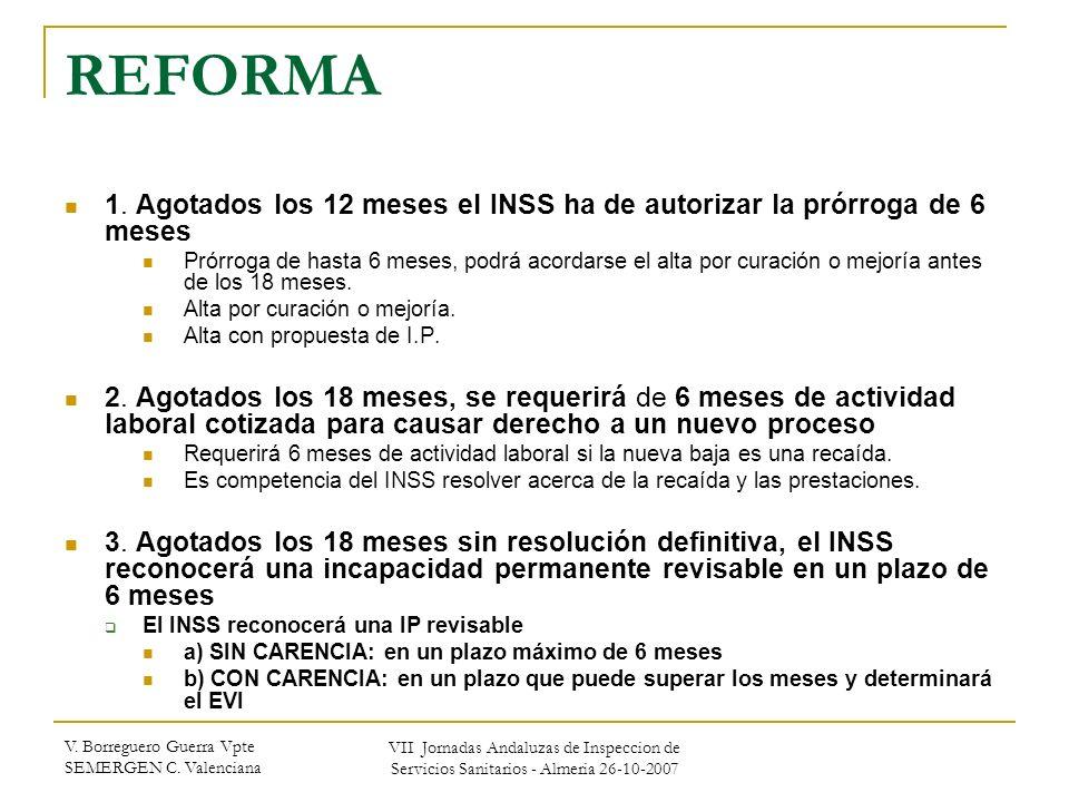 REFORMA 1. Agotados los 12 meses el INSS ha de autorizar la prórroga de 6 meses.