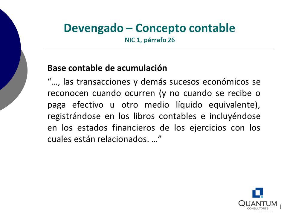 Devengado – Concepto contable NIC 1, párrafo 26