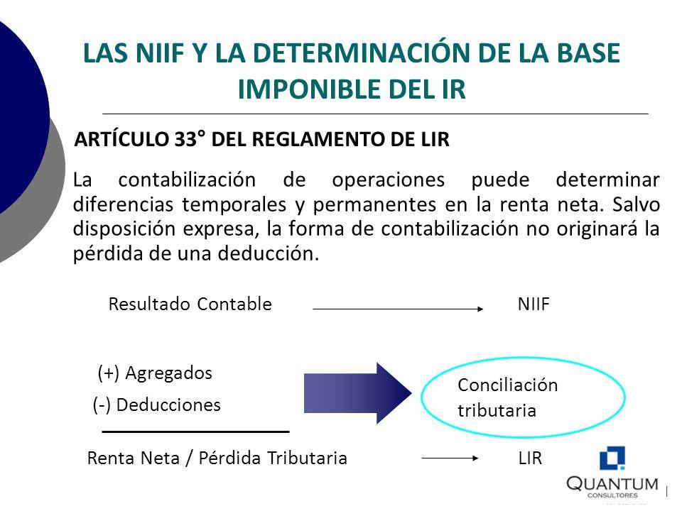 LAS NIIF Y LA DETERMINACIÓN DE LA BASE IMPONIBLE DEL IR