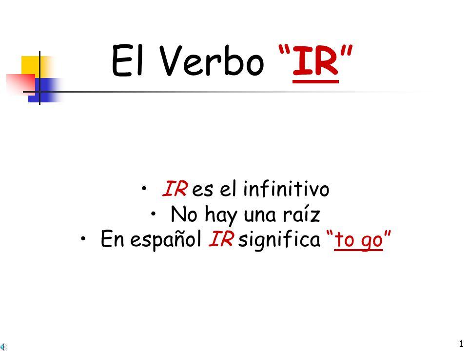 En español IR significa to go