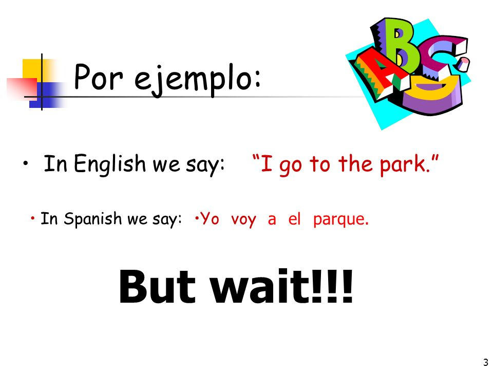 But wait!!! Por ejemplo: In English we say: I go to the park.