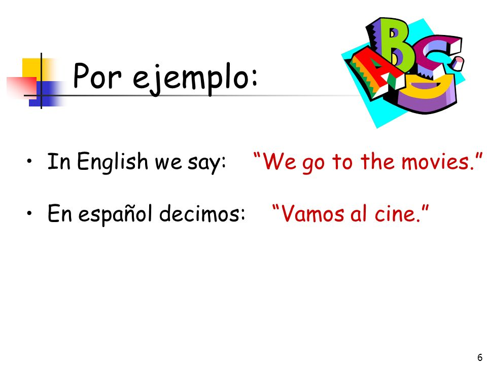 Por ejemplo: In English we say: We go to the movies.