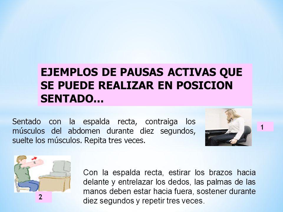 EJEMPLOS DE PAUSAS ACTIVAS QUE SE PUEDE REALIZAR EN POSICION SENTADO...