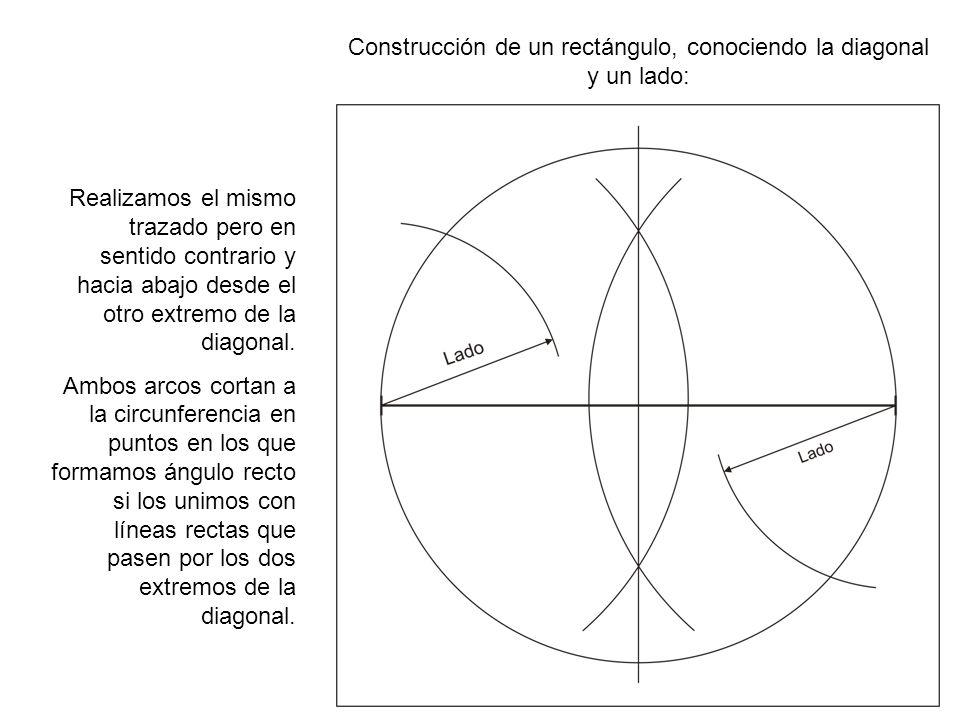 Construcción de un rectángulo, conociendo la diagonal y un lado: