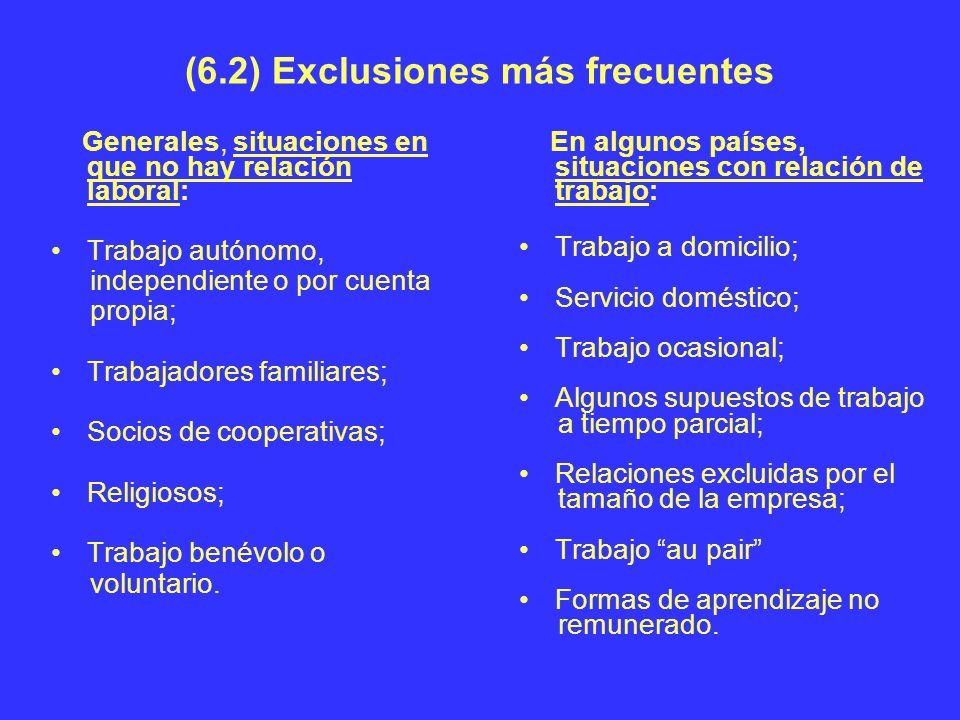 (6.2) Exclusiones más frecuentes