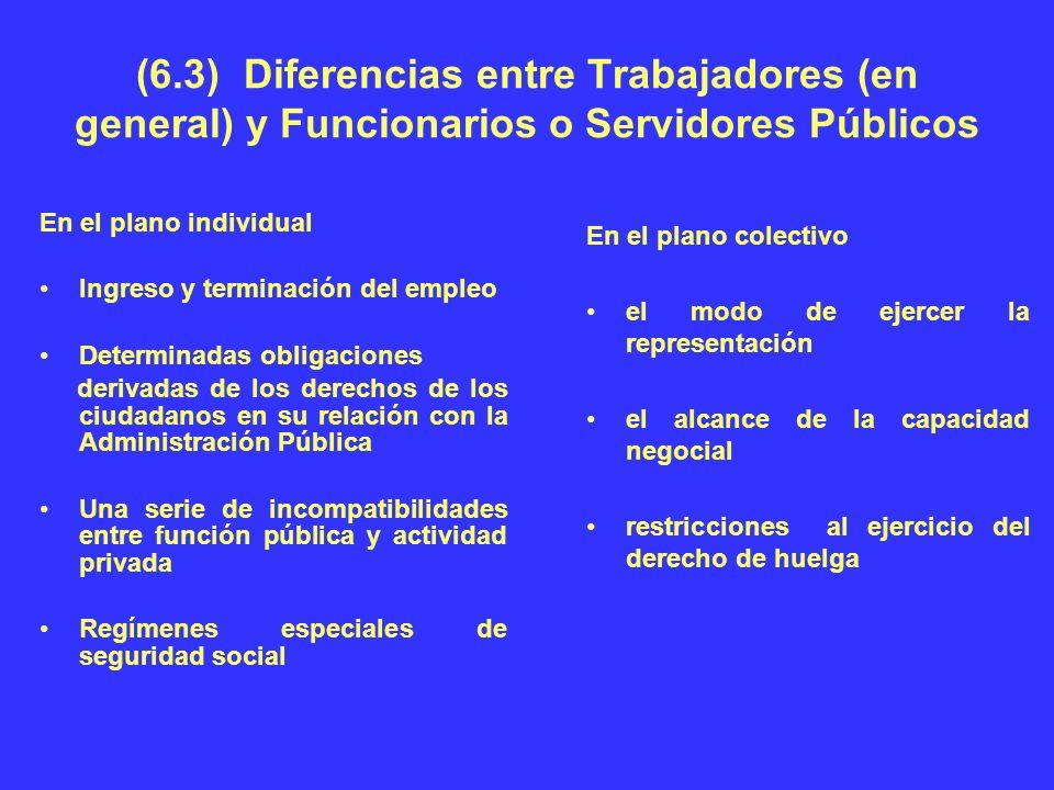 (6.3) Diferencias entre Trabajadores (en general) y Funcionarios o Servidores Públicos