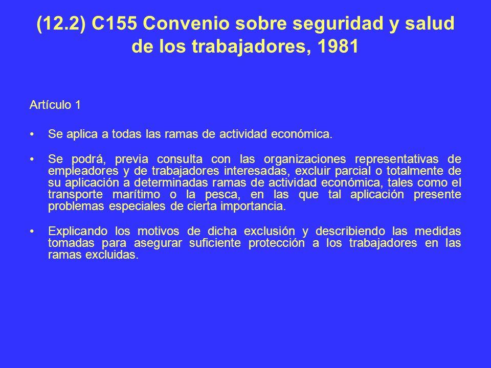 (12.2) C155 Convenio sobre seguridad y salud de los trabajadores, 1981