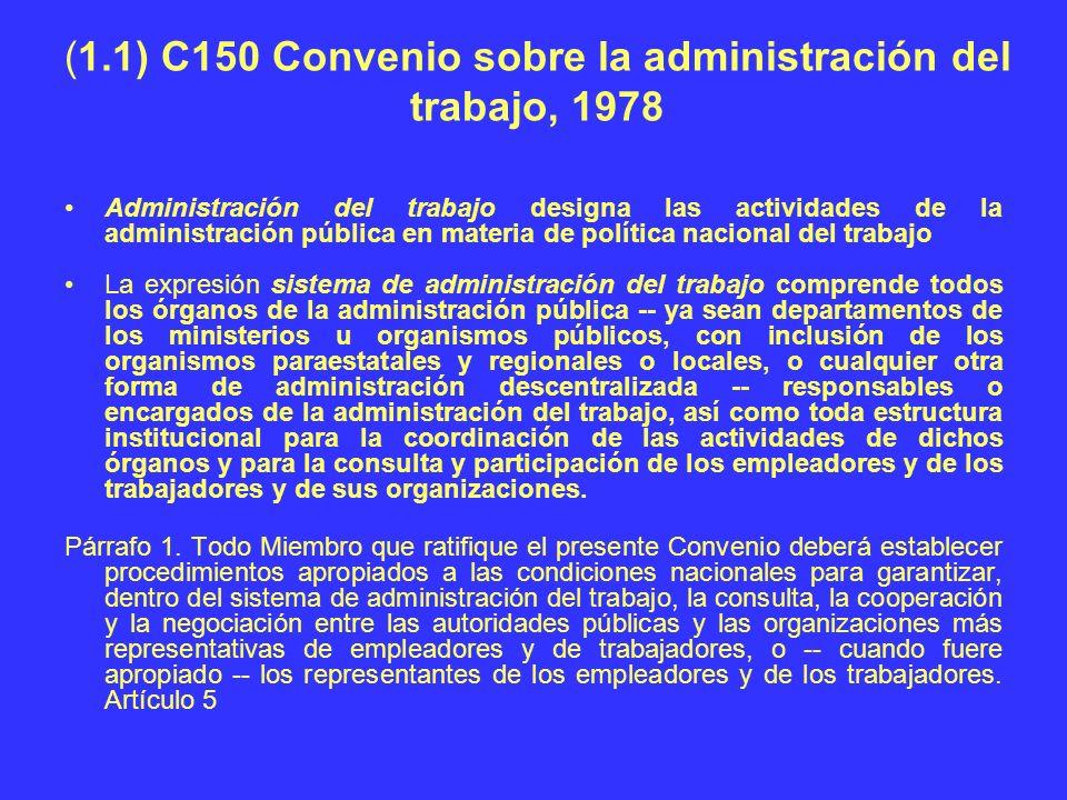 (1.1) C150 Convenio sobre la administración del trabajo, 1978