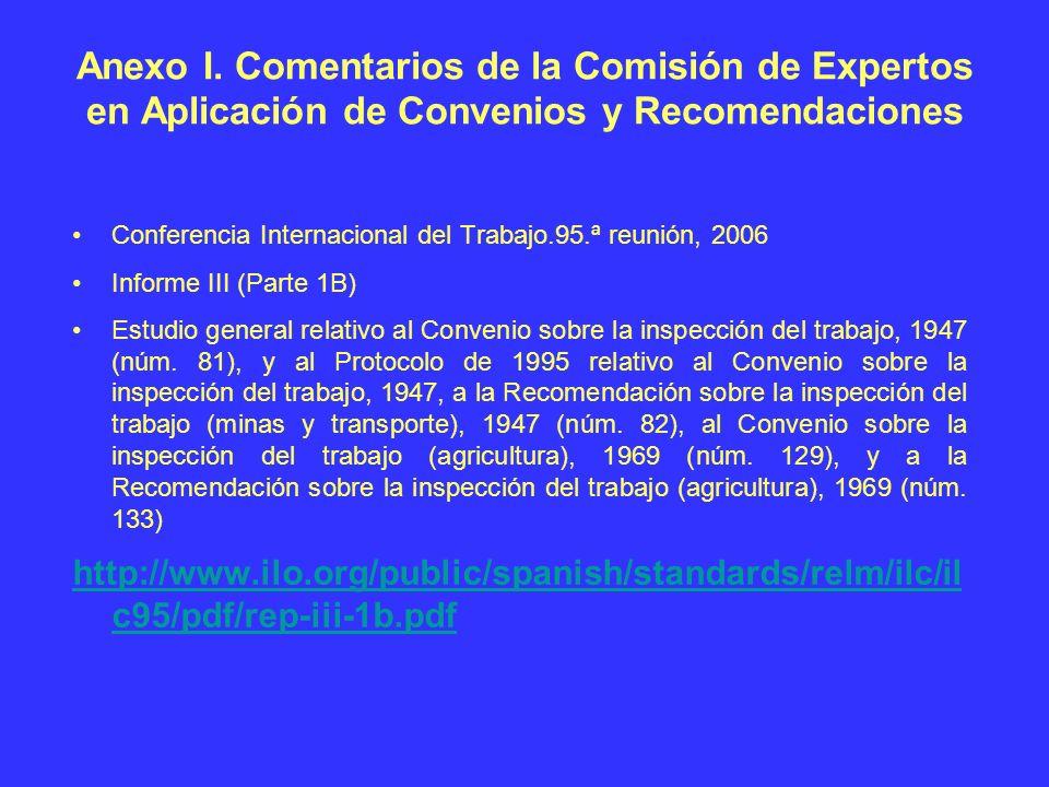Anexo I. Comentarios de la Comisión de Expertos en Aplicación de Convenios y Recomendaciones
