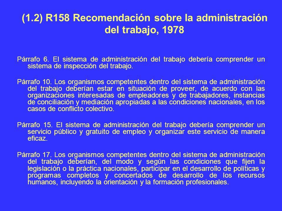 (1.2) R158 Recomendación sobre la administración del trabajo, 1978