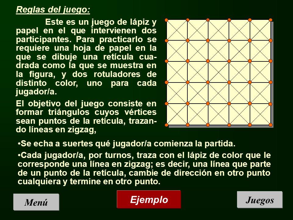 Ejemplo Juegos Menú Reglas del juego: