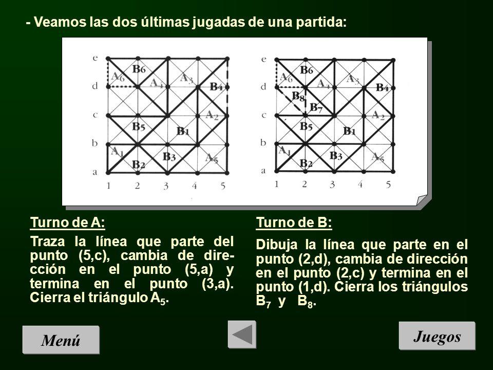Juegos Menú - Veamos las dos últimas jugadas de una partida:
