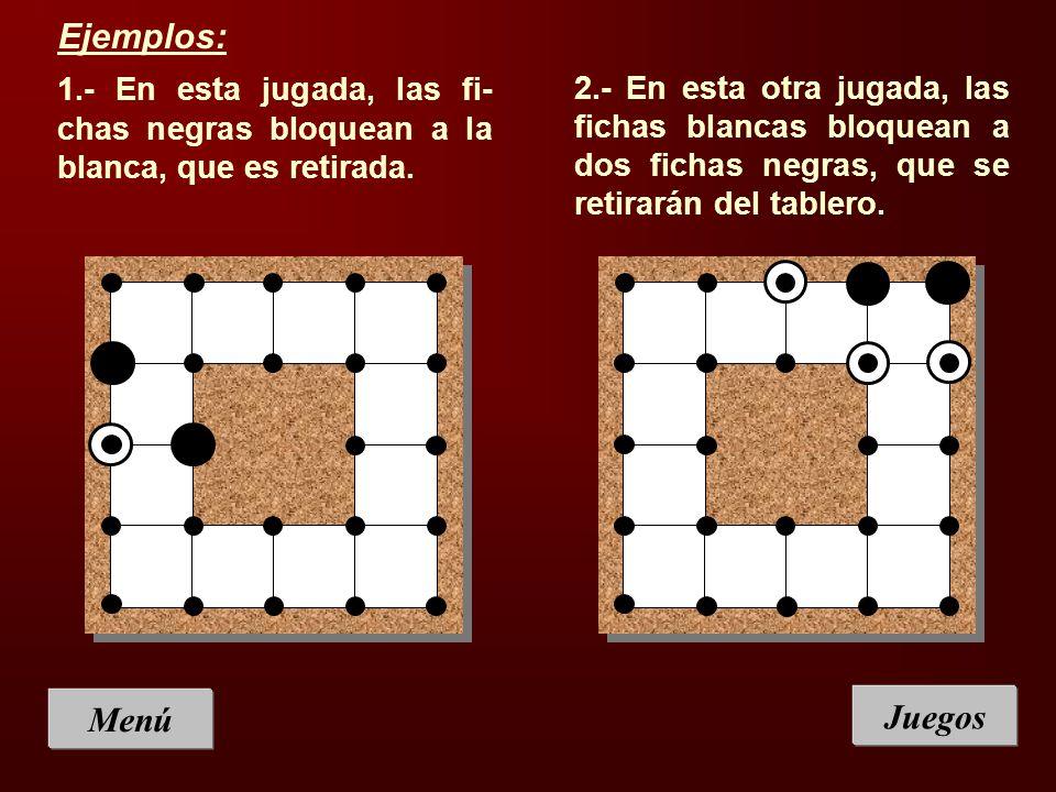 Ejemplos: 1.- En esta jugada, las fi-chas negras bloquean a la blanca, que es retirada.