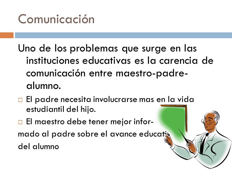 Comunicación Uno de los problemas que surge en las instituciones educativas es la carencia de comunicación entre maestro-padre- alumno.