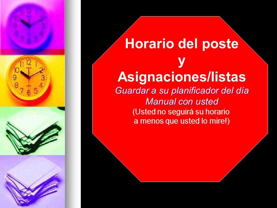 Horario del poste y Asignaciones/listas