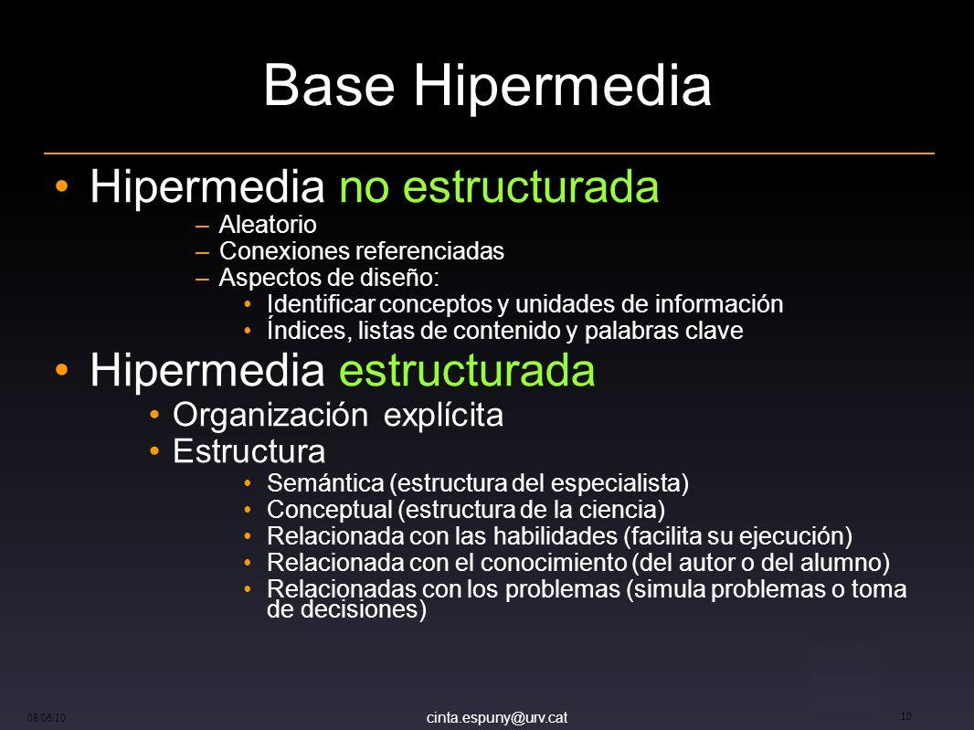 Base Hipermedia Hipermedia no estructurada Hipermedia estructurada