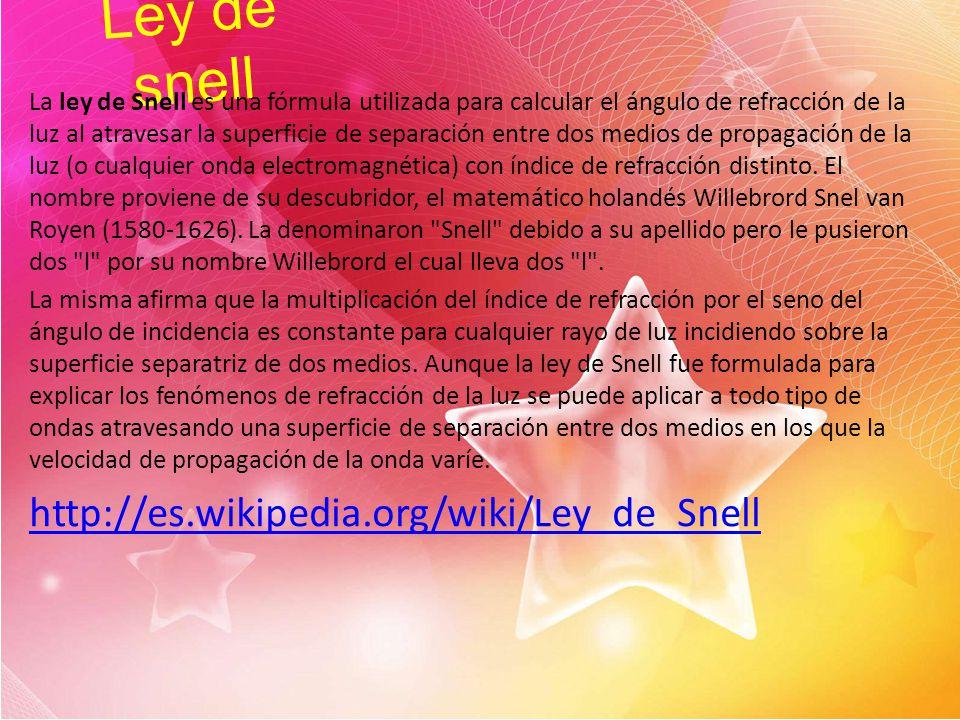 Ley de snell http://es.wikipedia.org/wiki/Ley_de_Snell