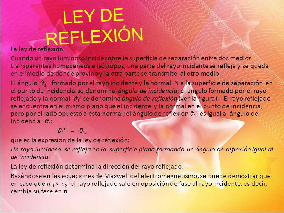 LEY DE REFLEXIÓN La ley de reflexión.
