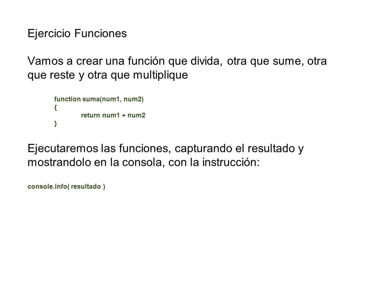 Ejercicio Funciones Vamos a crear una función que divida, otra que sume, otra que reste y otra que multiplique.