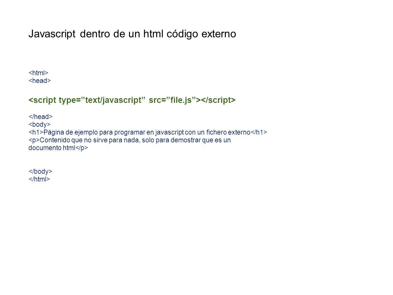 Javascript dentro de un html código externo