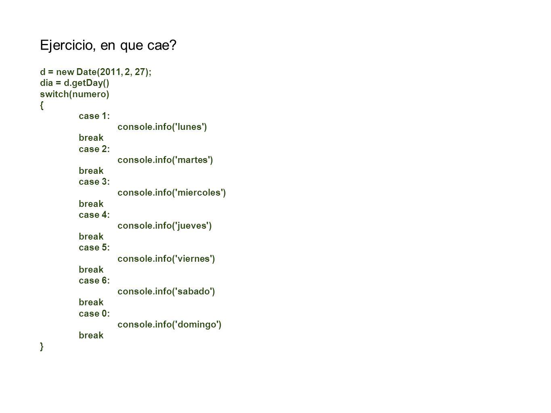 Ejercicio, en que cae d = new Date(2011, 2, 27); dia = d.getDay()