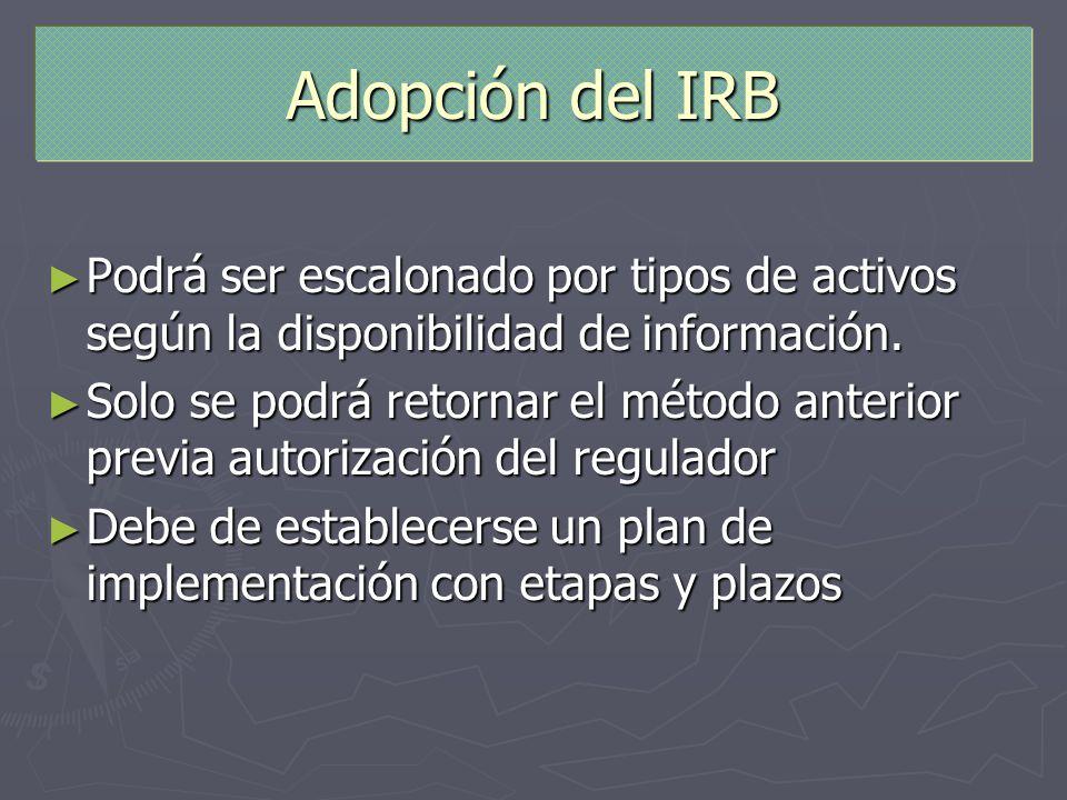 Adopción del IRBPodrá ser escalonado por tipos de activos según la disponibilidad de información.