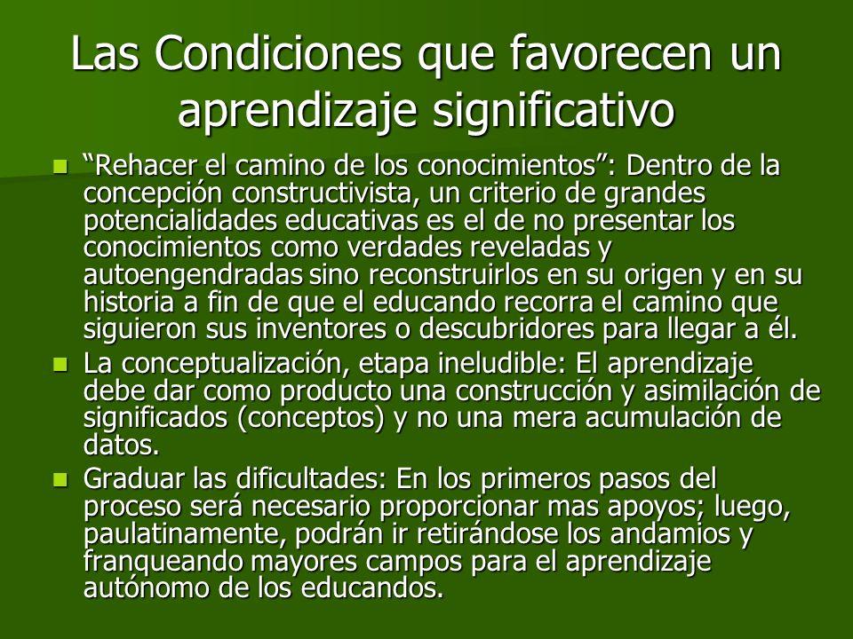 Las Condiciones que favorecen un aprendizaje significativo