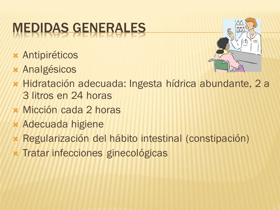 Medidas generales Antipiréticos Analgésicos
