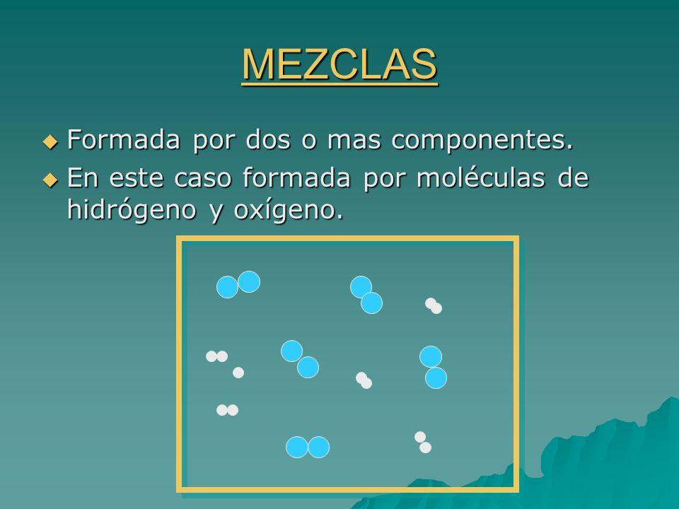 MEZCLAS Formada por dos o mas componentes.