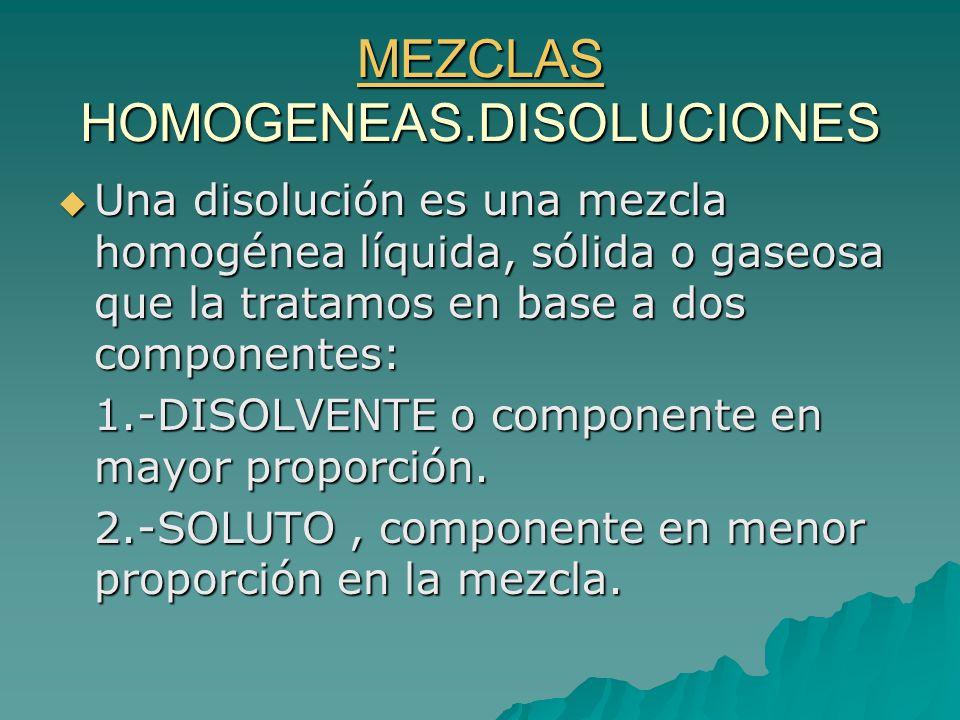 MEZCLAS HOMOGENEAS.DISOLUCIONES