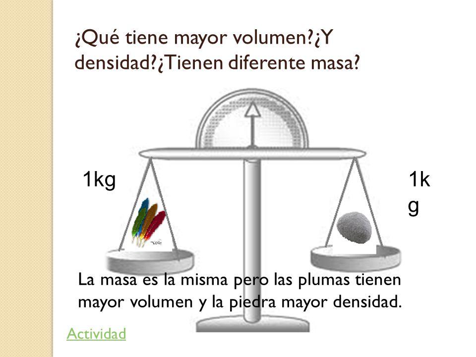 ¿Qué tiene mayor volumen ¿Y densidad ¿Tienen diferente masa
