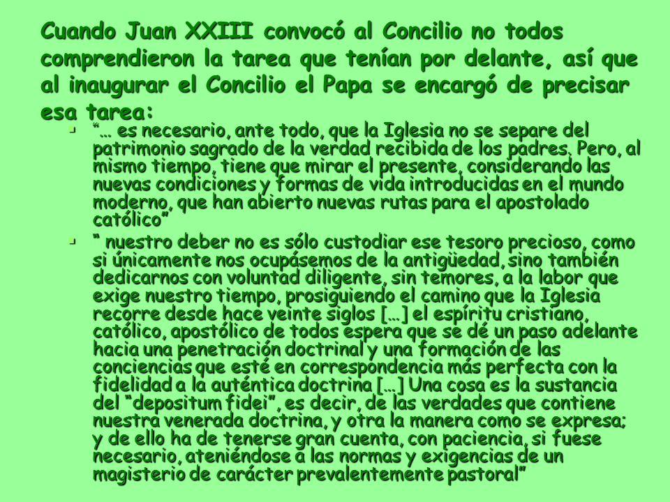 Cuando Juan XXIII convocó al Concilio no todos comprendieron la tarea que tenían por delante, así que al inaugurar el Concilio el Papa se encargó de precisar esa tarea: