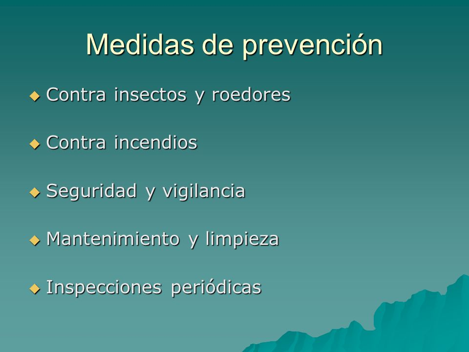 Normas de manipulaci n y preservaci n de material for Medidas contra incendios