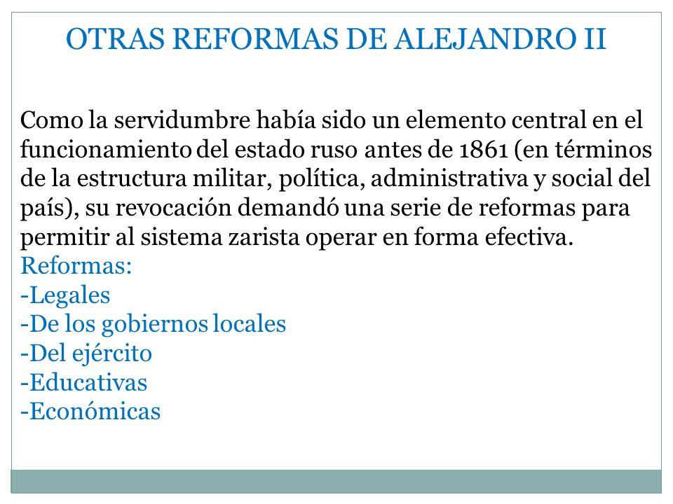 OTRAS REFORMAS DE ALEJANDRO II