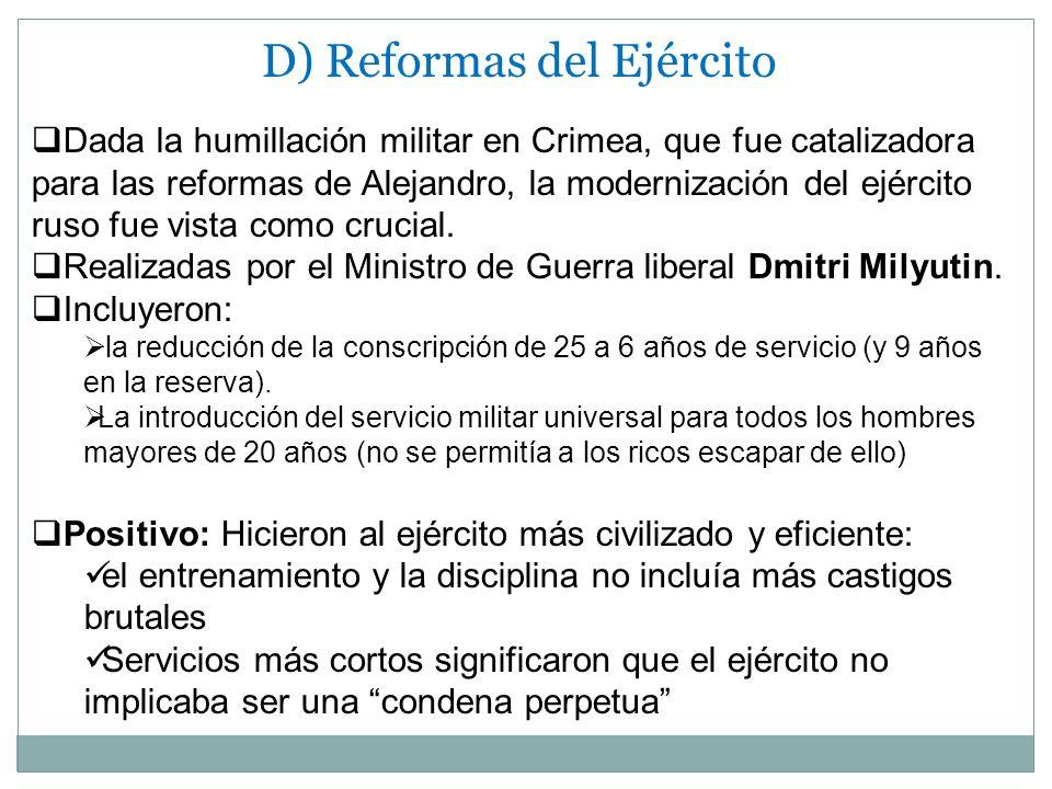 D) Reformas del Ejército