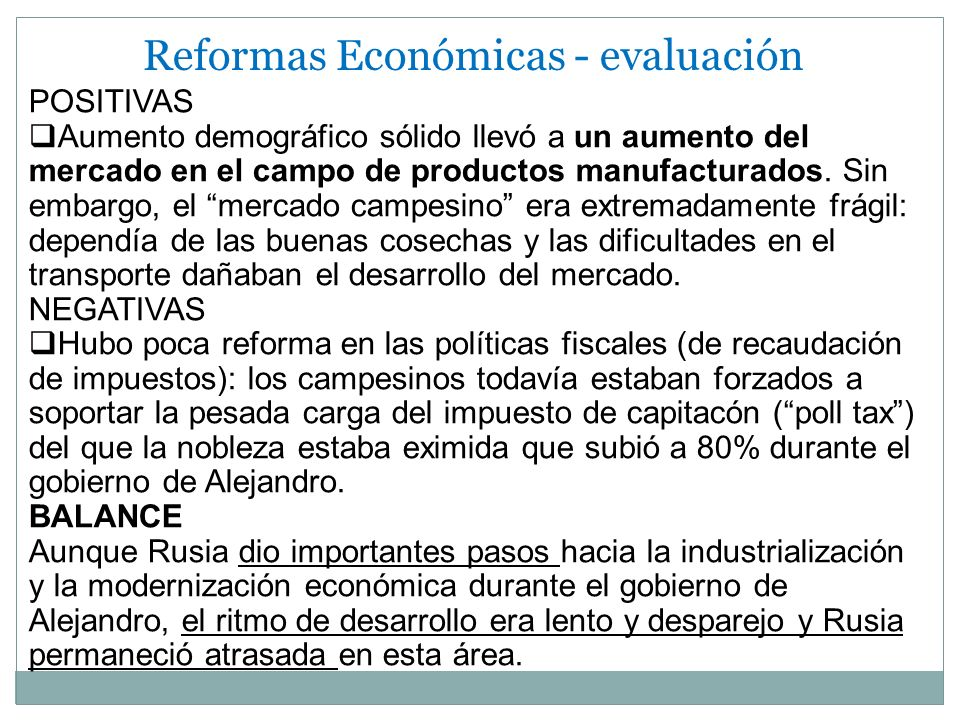 Reformas Económicas - evaluación