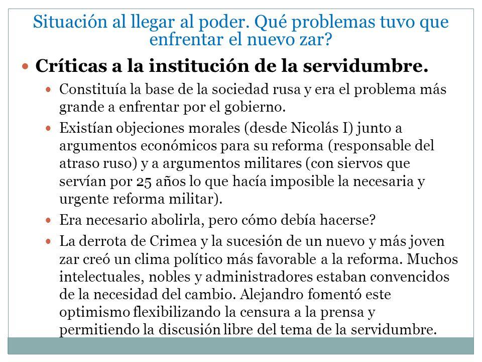 Críticas a la institución de la servidumbre.