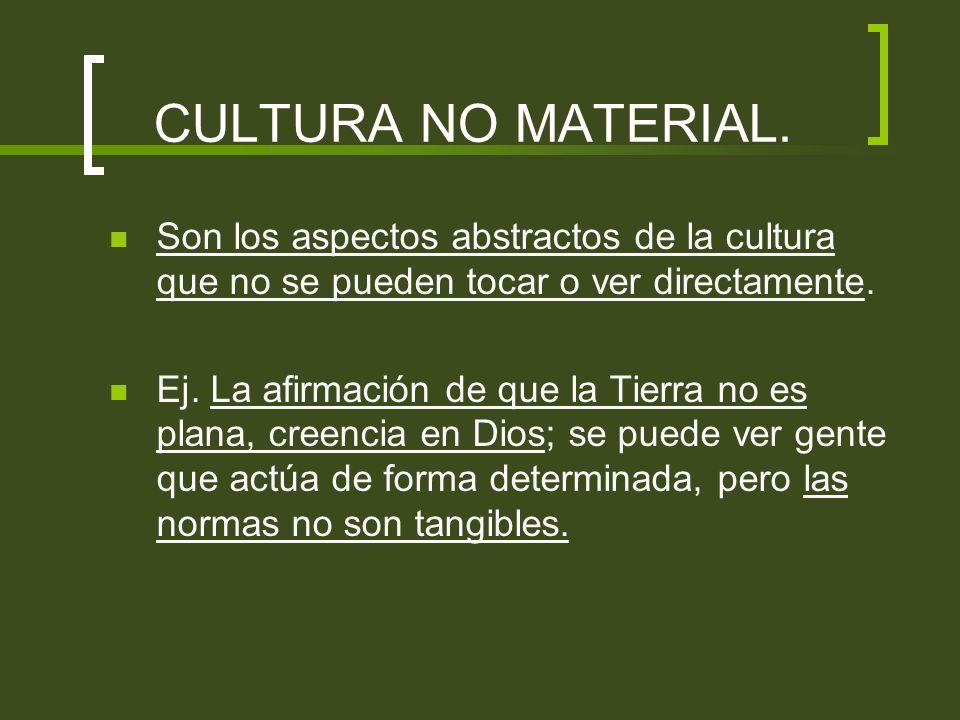 CULTURA NO MATERIAL. Son los aspectos abstractos de la cultura que no se pueden tocar o ver directamente.